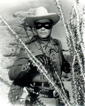 Clayton Moore ready for action as the Lone Ranger